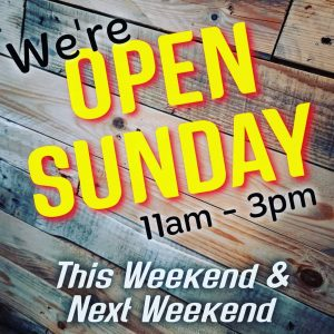It's that time again! We're open Sunday this weekend & next ...