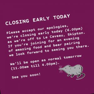 Sorry we're closing a little earlier today.  We're off to @l...